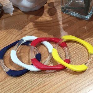 Jewelry - Vintage bangle bracelets black white red yellow